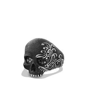 Skull Ring with Black Diamonds