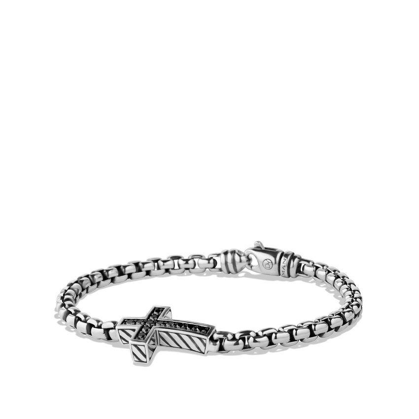 Pave Cross Bracelet with Black Diamonds