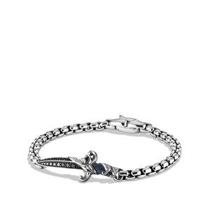 Waves Dagger Bracelet with Black Diamonds