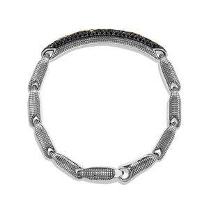 Pavé ID Bracelet with 18K Gold and Black Diamonds alternative image