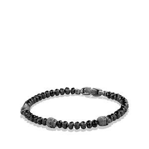 Skull Station Bracelet in Black Spinel