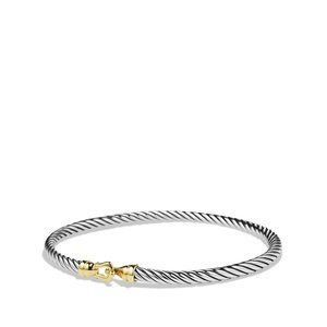 Kids 3mm Buckle Bracelet in Sterling Silver and 18k Yellow Gold