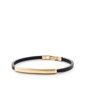 Streamline® Leather Bar ID Bracelet with 18K Yellow Gold