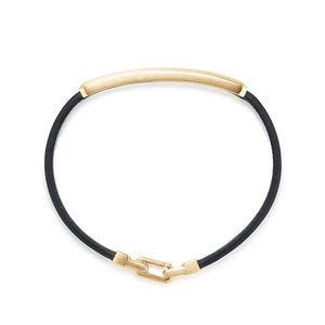 Streamline® Leather Bar ID Bracelet with 18K Yellow Gold alternative image