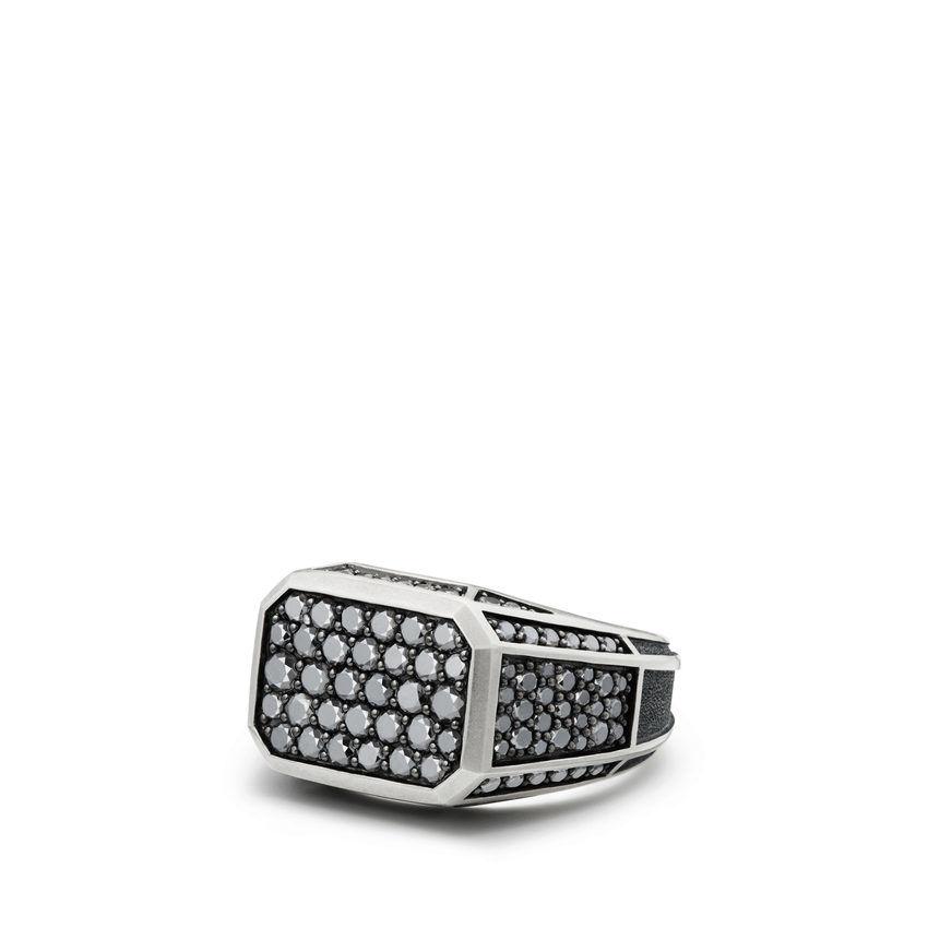 Streamline Pavé Signet Ring with Black Diamonds