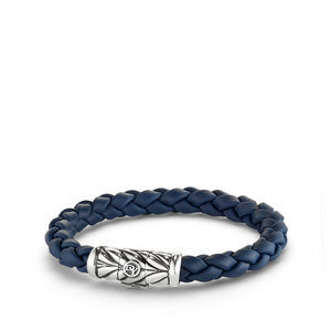 Chevron Rubber Weave Bracelet in Blue