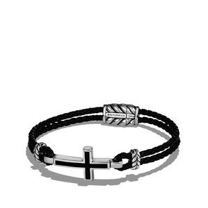 Cross Station Leather Bracelet with Black Onyx