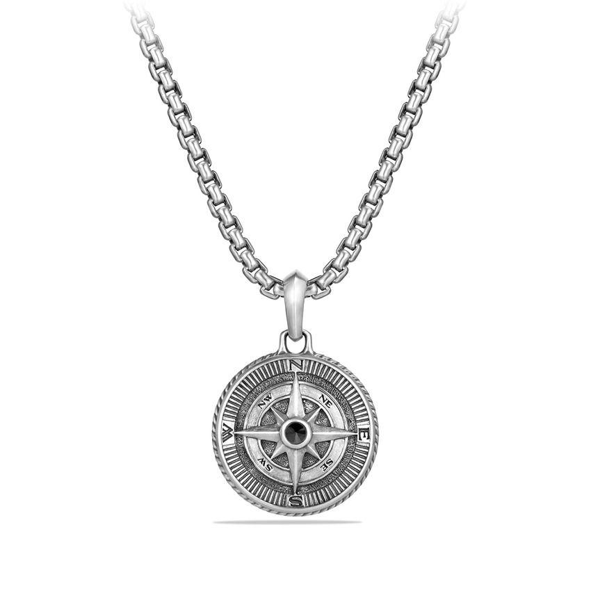 Maritime Compass Amulet with Black Diamonds