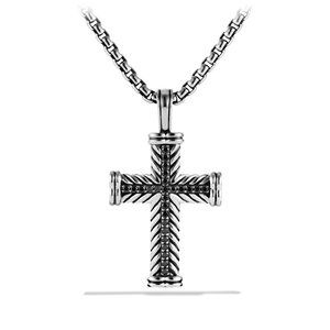 Chevron Cross with Black Diamonds on Chain