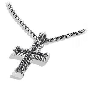 Chevron Cross with Black Diamonds on Chain alternative image