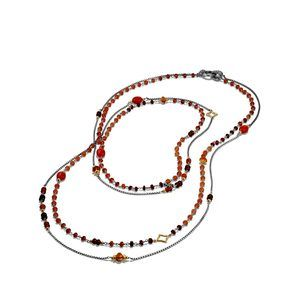 Bead Necklace with Carnelian, Garnet and 18K Gold alternative image