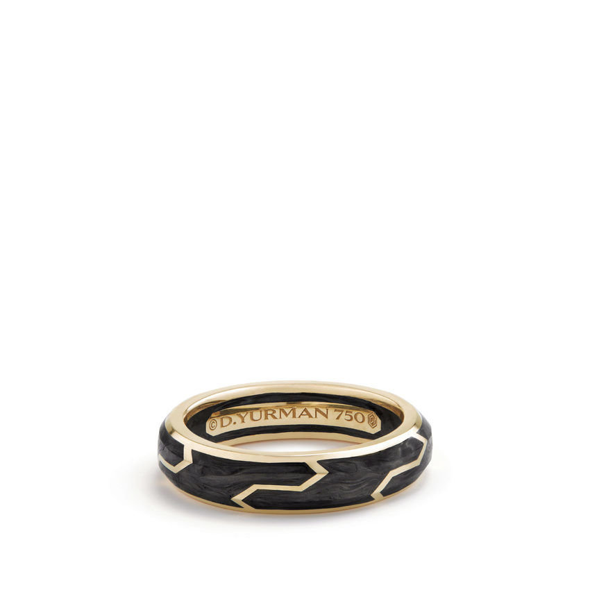 Forged Carbon Band Ring in 18K Gold, 6mm