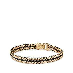 Woven Box Chain Bracelet in Black with 18K Gold