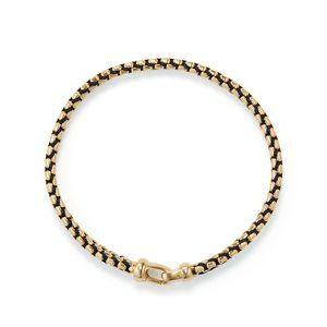 Woven Box Chain Bracelet in Black with 18K Gold alternative image