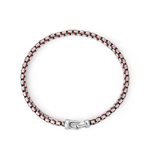 Woven Box Chain Bracelet in Red alternative image
