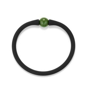 Spiritual Beads Stone Rubber Bracelet with Nephrite Jade alternative image