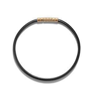 Southwest Narrow Black Leather Bracelet with 18K Gold alternative image