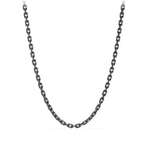 Chain Link Narrow Neckace with Black Titanium