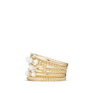 Petite Perle Multi Row Ring with Pearls and Diamonds in 18K Gold alternative image