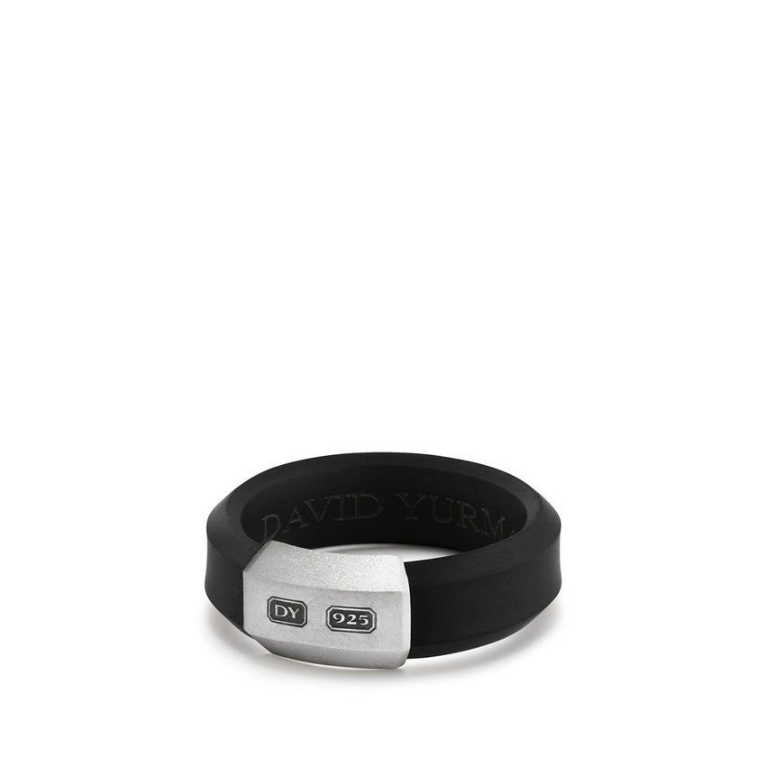 Hex Band Ring in Black, 7mm