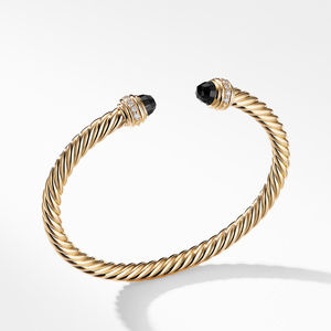 Cable Bracelet in 18K Gold with Black Onyx and Diamonds