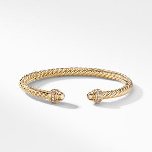 Cable Bracelet in 18K Gold with Gold Dome and Diamonds alternative image