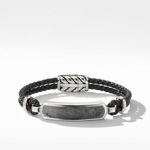 Exotic Stone Bar Station Bracelet in Black Leather with Meteorite