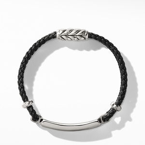 Exotic Stone Bar Station Bracelet in Black Leather with Meteorite alternative image