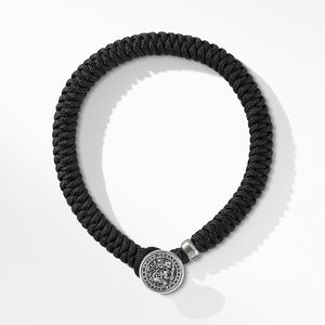 Woven St. Christopher Bracelet with Black Nylon alternative image