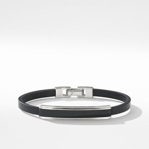 Deco Bar Station Bracelet in Black Leather with Black Onyx