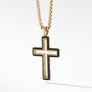 Forged Carbon Cross Pendant with 18K Gold alternative image