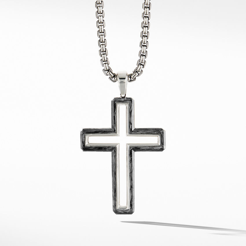 Forged Carbon Cross Pendant