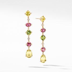 Chatelaine® Multi Drop Earrings in 18K Yellow Gold with Lemon Citrine, Pink Tourmaline, Peridot and Diamonds