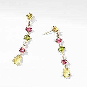 Chatelaine® Multi Drop Earrings in 18K Yellow Gold with Lemon Citrine, Pink Tourmaline, Peridot and Diamonds alternative image