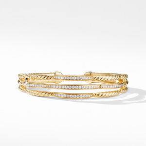 Tides Three Row Cuff Bracelet in 18K Yellow Gold with Diamonds alternative image