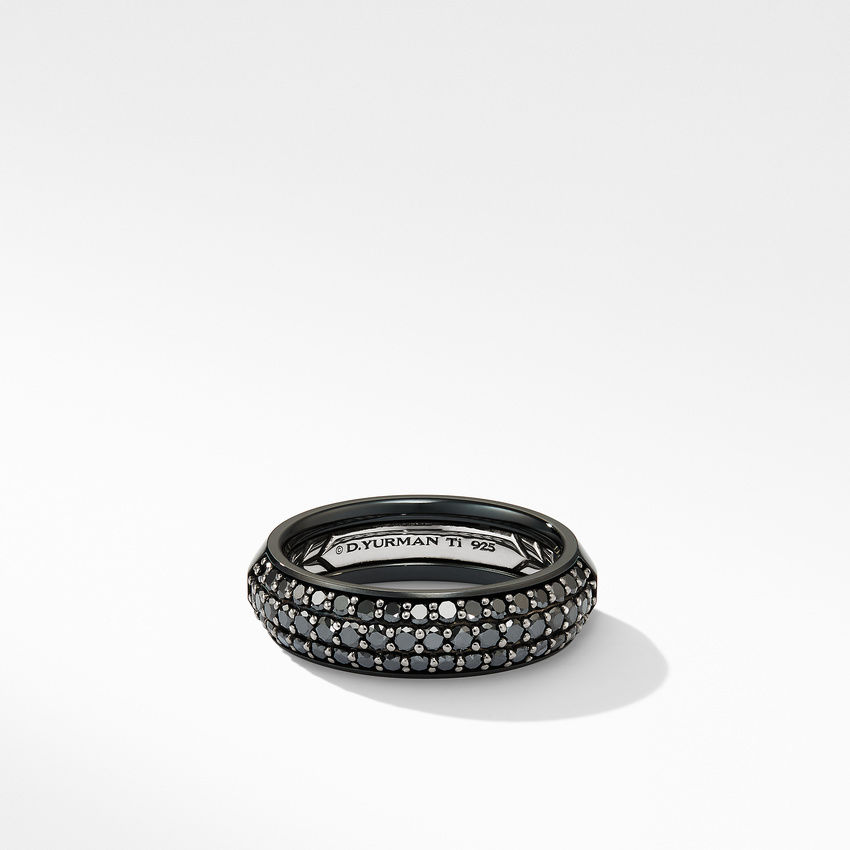 Half Pavé Beveled Band Ring in Black Titanium with Black Diamonds