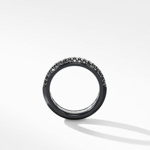 Half Pavé Beveled Band Ring in Black Titanium with Black Diamonds alternative image