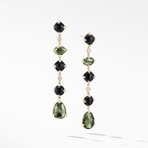 Chatelaine® Multi Drop Earrings in 18K Yellow Gold with Green Orchid, Black Onyx and Diamonds