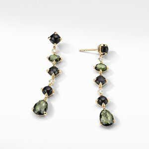 Chatelaine® Multi Drop Earrings in 18K Yellow Gold with Green Orchid, Black Onyx and Diamonds alternative image