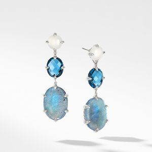 Chatelaine® Drop Earrings with Labradorite, Hampton Blue Topaz, and White Moonstone