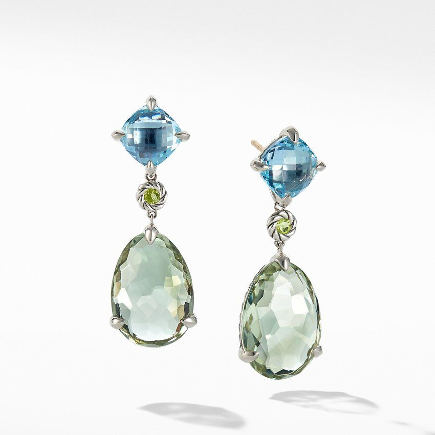 Chatelaine® Drop Earrings with Prasiolite, Blue Topaz and Peridot