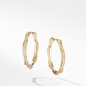 Tides Hoop Earrings in 18K Yellow Gold with Diamonds