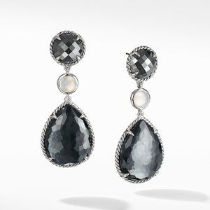 Chatelaine® Teardrop Earrings with Hematine with Crystal overlay, Hematine, and Milky Quartz over Mother of Pearl