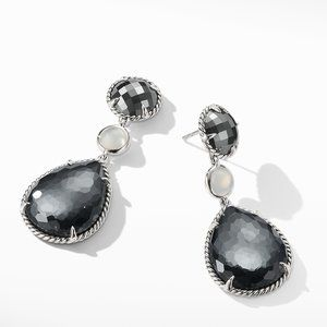 Chatelaine® Teardrop Earrings with Hematine with Crystal overlay, Hematine, and Milky Quartz over Mother of Pearl alternative image