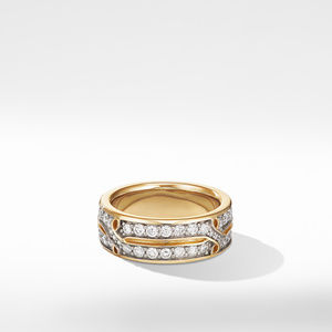 Armory Band Ring in 18K Yellow Gold with Diamonds