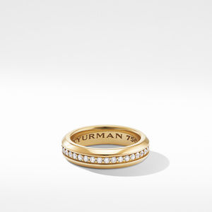 Streamline Band Ring in 18K Yellow Gold with Diamonds