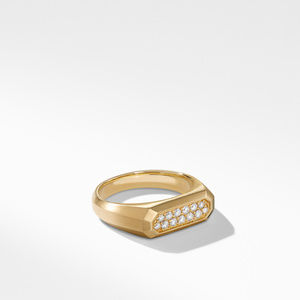 Streamline® Signet Ring in 18K Yellow Gold with Diamonds