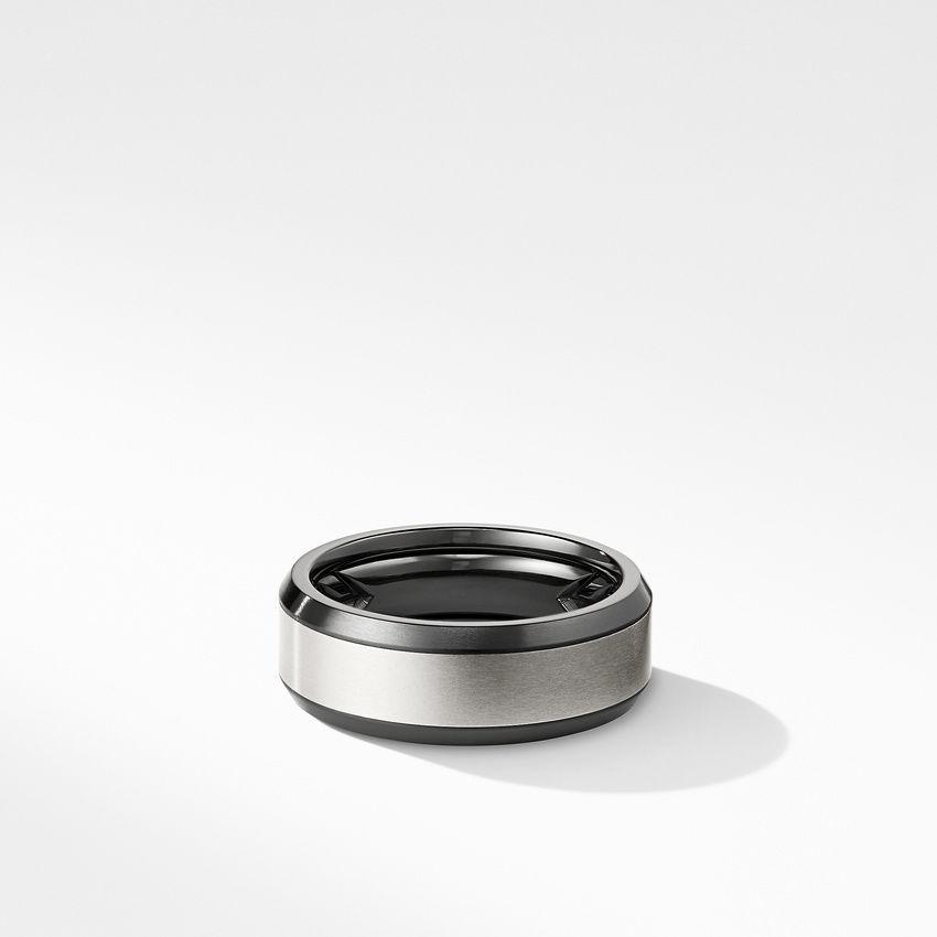 Beveled Band Ring in Black Titanium with Grey Titanium