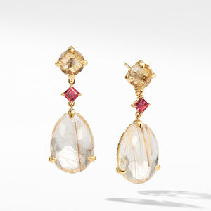 Chatelaine® Drop Earrings in 18K Yellow Gold with Rutilated Quartz, Champagne Citrine, and Pink Tourmaline