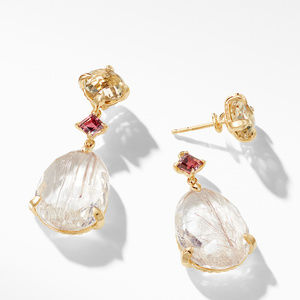 Chatelaine® Drop Earrings in 18K Yellow Gold with Rutilated Quartz, Champagne Citrine, and Pink Tourmaline alternative image
